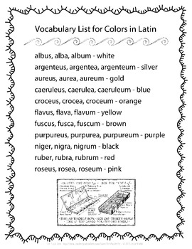 Latin Vocabulary Puzzles - Review of Color Words for First Year Latin Students