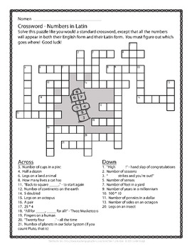 Latin Vocabulary Puzzles - Review of Numbers for First Year Latin Students