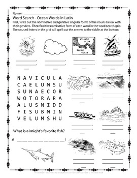 Latin Vocabulary Puzzles - Review of Ocean Words for First Year Latin Students
