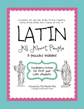 Latin Vocabulary Puzzles - Review of People Words for First Year Latin Students