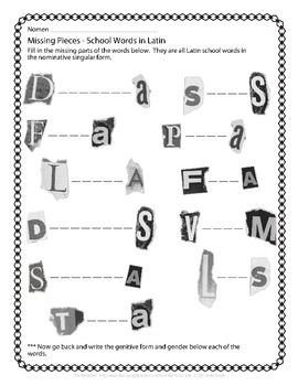 Latin Vocabulary Puzzles - Review of School Words for First Year Latin Students