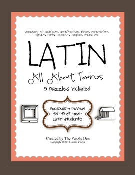 Latin Vocabulary Puzzles - Review of Town Words for First Year Latin Students