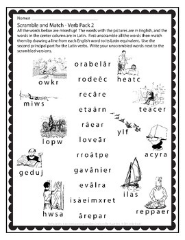 Latin Vocabulary Puzzles - Verb Pack 2 for First Year Latin Students