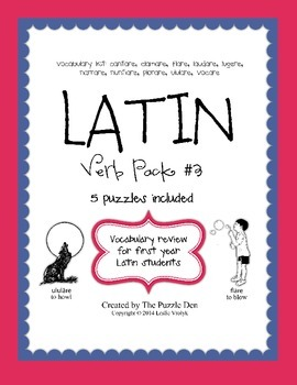 Latin Vocabulary Puzzles - Verb Pack 3 for First Year Latin Students