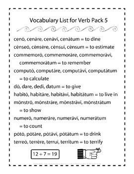 Latin Vocabulary Puzzles - Verb Pack 5 for First Year Latin Students