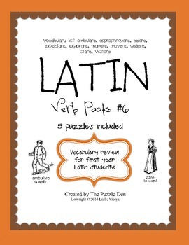Latin Vocabulary Puzzles - Verb Pack 6 for First Year Latin Students