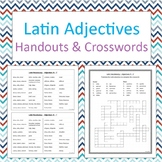 Latin adjectives handouts and crosswords - No Prep b/w
