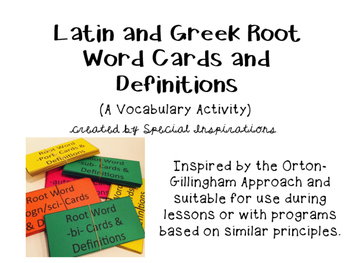 Latin and Greek Root Word Cards and Definitions (A Vocabul