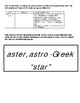 Latin and Greek Root Word Interactive Notebook Sample (aster / astro)