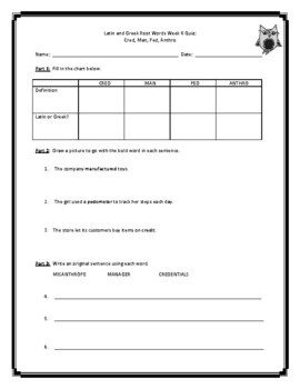 Latin and Greek Root Words Weekly Practice Unit 2