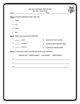 Latin and Greek Root Words Weekly Practice Unit 6