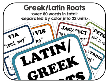 Latin and Greek Root Words Word Wall