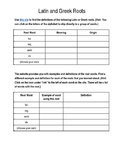 Latin and Greek Roots Computer Assignment