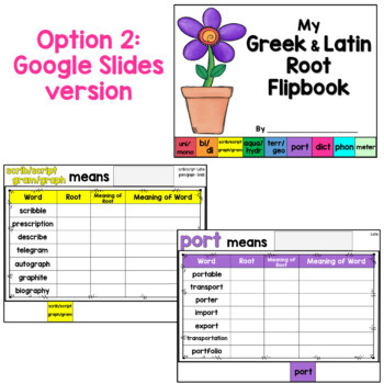 Latin and Greek Roots Flipbook (including a blank template to fit your needs)