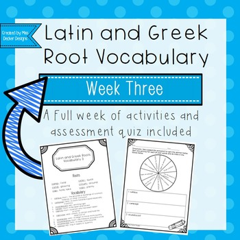 Latin and Greek Vocabulary Week 3 Activities and Quiz