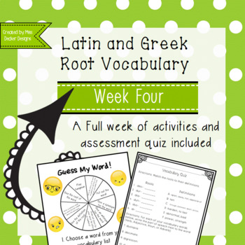 Latin and Greek Vocabulary Week 4 Activities and Quiz