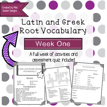 Latin and Greek Vocabulary Words: Week One Activities and Quiz