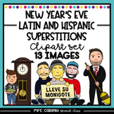 Latin and Hispanic New Years Eve Superstitions Clipart Set