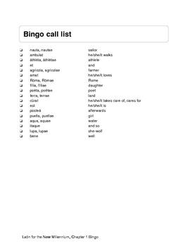 Latin for the New Millennium Book 1 Vocab Bingo Cards for All Chapters