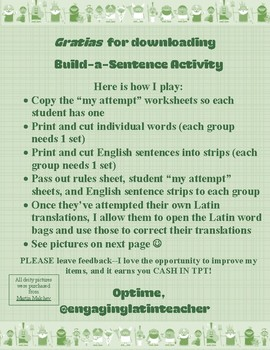Latin for the New Millennium Build-a-Sentence Activity for Chapters 1-2
