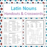 Latin nouns handouts and crosswords - No Prep b/w