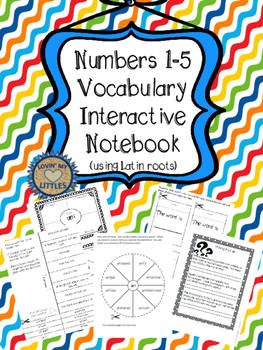Latin root interactive notebook numbers 1-5