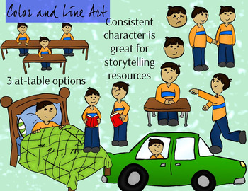 Latino Boy Storytelling Clipart Set - Color and Line Art 26 pc set