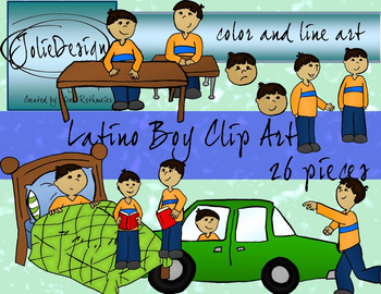 Latino Boy Storytelling Clip Art Set - Color and Line Art