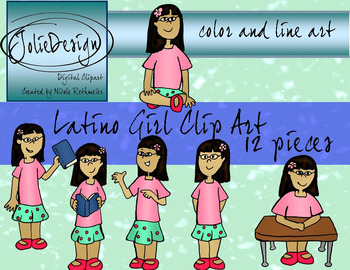 Latino Girl Storytelling Clipart Set - Color and Line Art