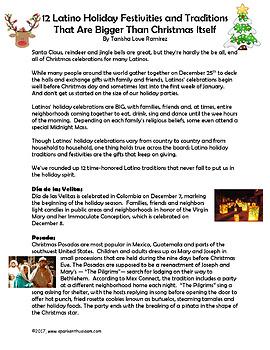 Latinos Celebrate Christmas Holidays English Article & Activity