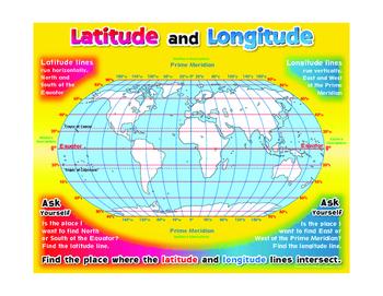 """Latitude And Longitude- 18"""" x 23"""""""