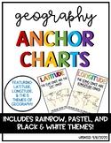Latitude & Longitude + 5 Themes of Geography Anchor Charts