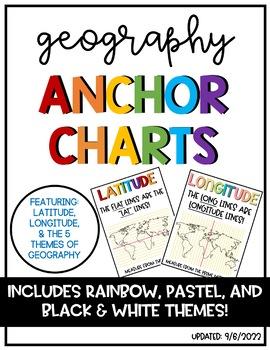 Latitude & Longitude + 5 Themes of Geography Anchor Charts ...