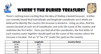 Latitude & Longitude Activities Bundle - Christmas Geogrpahy & 10 Treasure Hunts