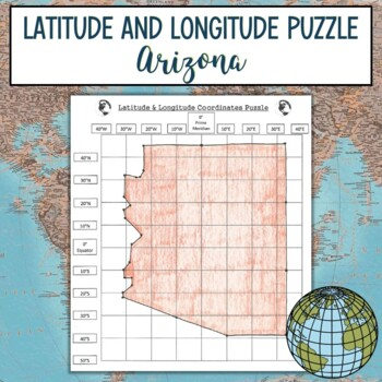 Latitude and Longitude Practice Puzzle Arizona