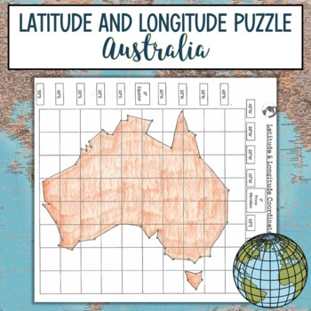 Australia Map With Latitude And Longitude.Latitude And Longitude Practice Puzzle Australia Tpt