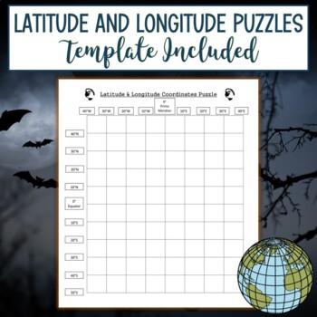 Latitude and Longitude Practice Puzzle Bat Halloween