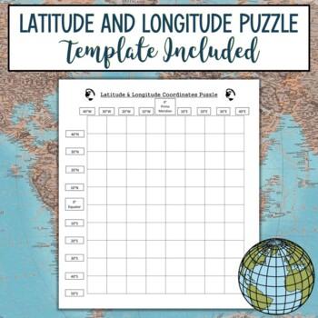 Latitude & Longitude Coordinates Puzzle-California State Outline
