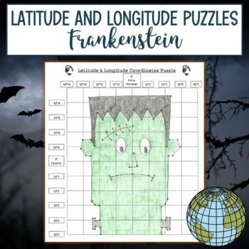 Latitude & Longitude Coordinates Puzzle-Frankenstein Halloween