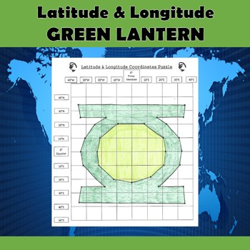 Latitude and Longitude Practice Puzzle Green Lantern Superhero