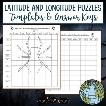 Latitude and Longitude Practice Puzzle-Halloween Collection