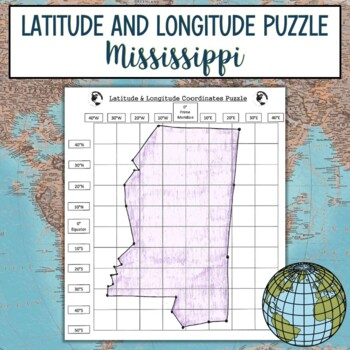 Latitude and Longitude Practice Puzzle-Mississippi