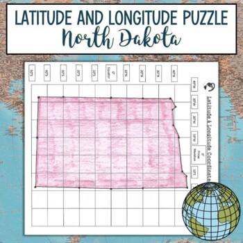 Latitude & Longitude Coordinates Puzzle-North Dakota State Outline