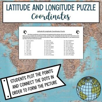 Latitude and Longitude Practice Puzzle North Dakota