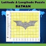 Latitude and Longitude Practice Puzzle-Batman Superhero