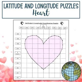 Latitude & Longitude Coordinates Puzzle Practice-Heart