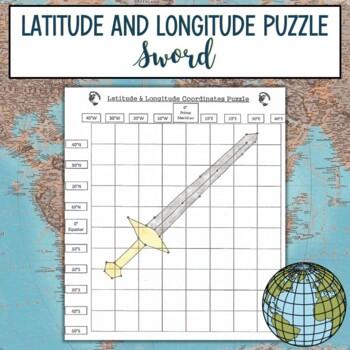 Latitude & Longitude Coordinates Puzzle Practice-Sword