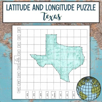 Latitude and Longitude Practice Puzzle-Texas