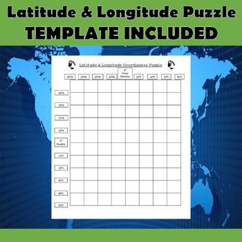 Latitude & Longitude Coordinates Puzzle Practice-Wonder Woman Superhero Logo