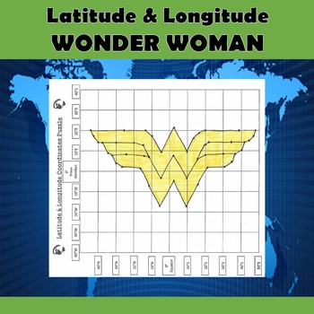 Latitude & Longitude Coordinates Puzzle Practice-Wonder Woman